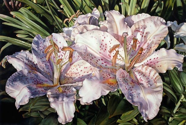 Lilies on the Lanai - Lopuck Watercolors